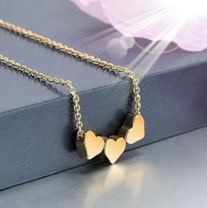 💙Hot💙 Triple Gold Heart Charm Necklace